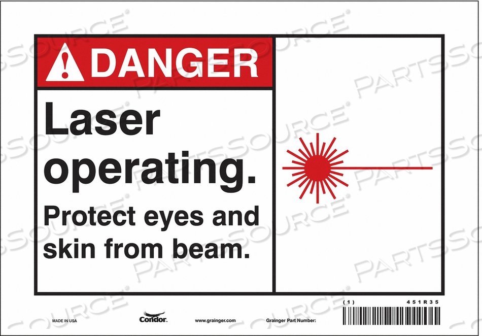 LASER WARNING 10 W 7 H 0.004 THICK by Condor