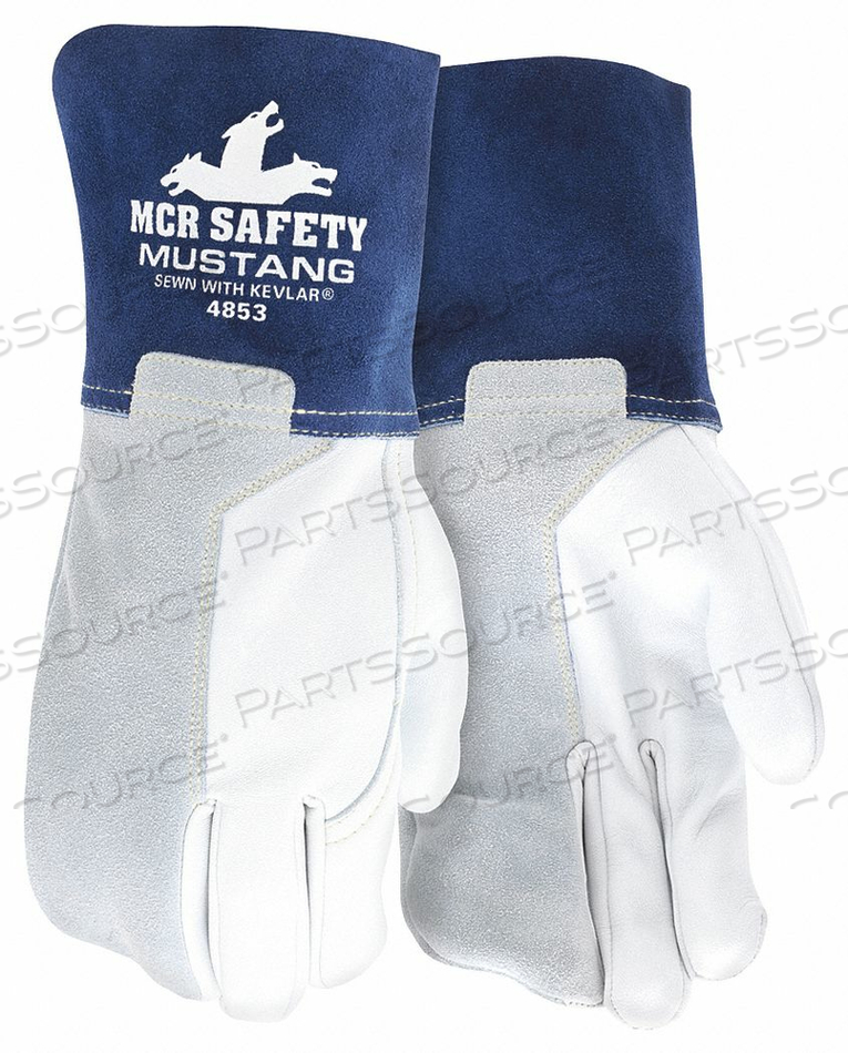 WELDING LEATHER GLOVE BLUE/GRAY XL PK12 by MCR Safety