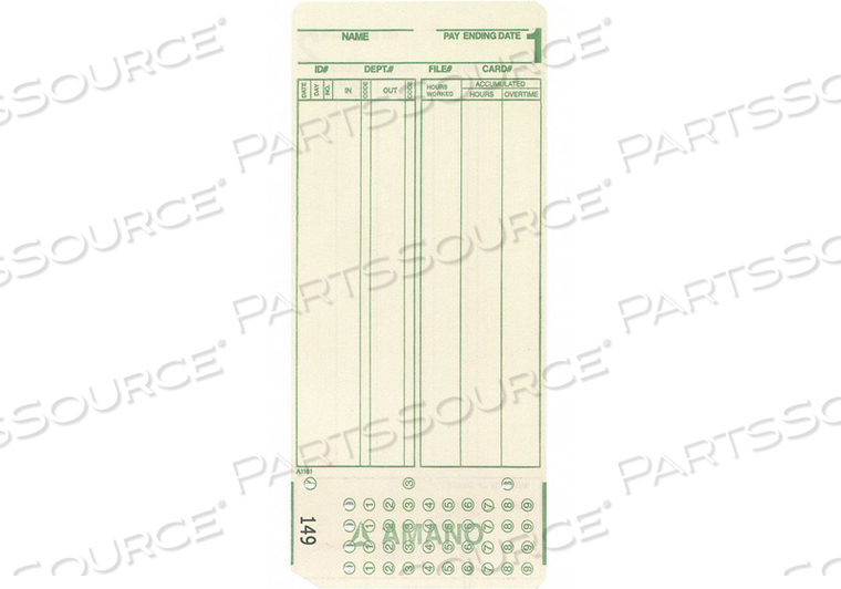 1000 PACK TIME CARDS FOR MODEL NUMBER AM by Amano