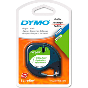 """LETRATAG PAPER LABEL TAPE CASSETTE, 1/2"""" X 13FT, WHITE, 2/PACK by Dymo"""