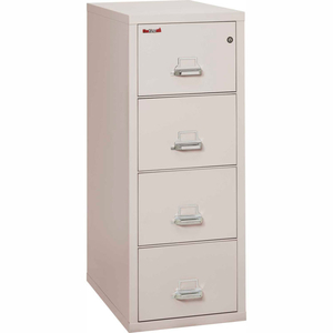 """FIREPROOF 4 DRAWER VERTICAL FILE CABINET - LEGAL SIZE 21""""W X 31-1/2""""D X 53""""H - LIGHT GRAY by Fire King"""