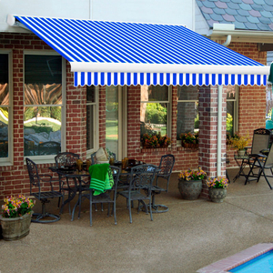 """RETRACTABLE AWNING LEFT MOTOR 24'W X 10""""D X 10""""H BRIGHT BLUE/WHITE by Awntech"""