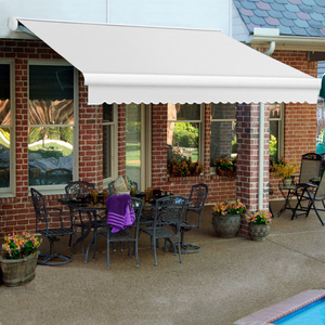 """RETRACTABLE AWNING LEFT MOTOR 24'W X 10""""D X 10""""H OFF WHITE by Awntech"""